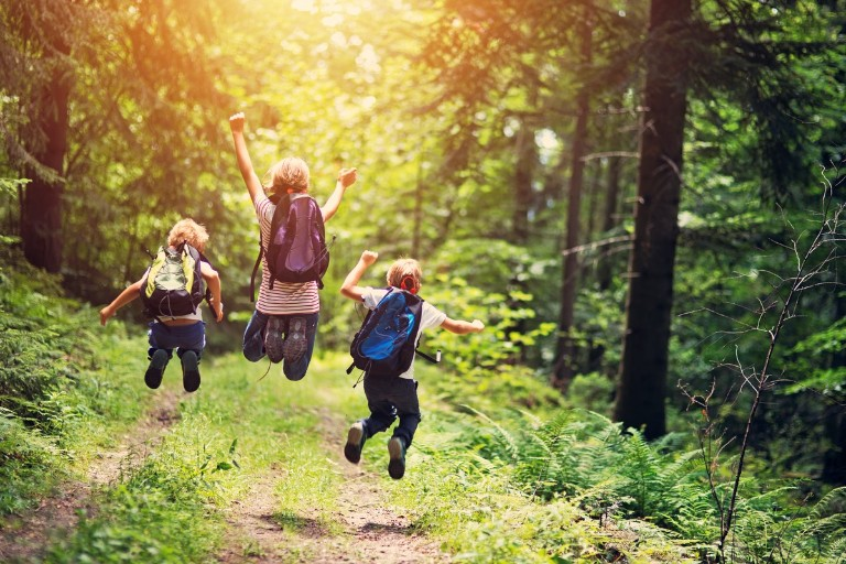 Brothers and sister hiking in beautiful forest. Kids are jumping with joy on forest path.