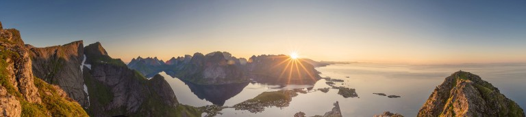 Panoramic view of Lofoten Islands in Norway with sunset scenic