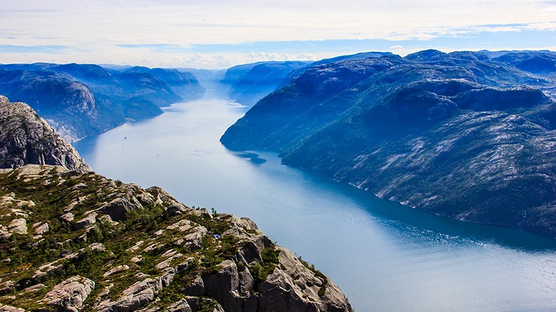 Majestic View from Preikestolen preacher pulpit rock, Lysefjord as background, Rogaland county, Norway, Europe
